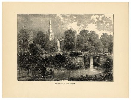 1896 Antique Print STRATFORD ON AVON Lock Gates Canal River HOLY TRINITY CHURCH